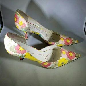 Anne Klein Pastel Floral Fabric D'Orsay Pumps